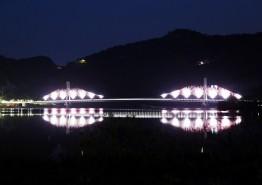 낙동강 경천섬 낙강교 경관조명 가동